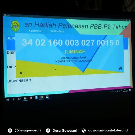 HASIL PENGUNDIAN REWARD SPPT PBB  DESA GUWOSARI TAHUN 2019